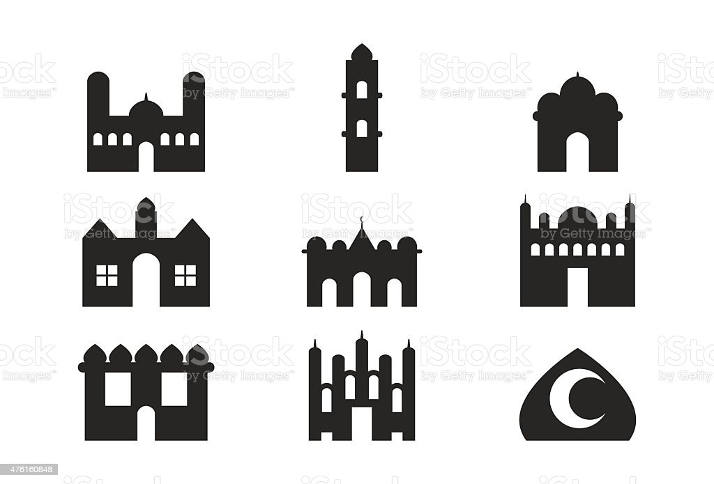 Mosque Building vector art illustration