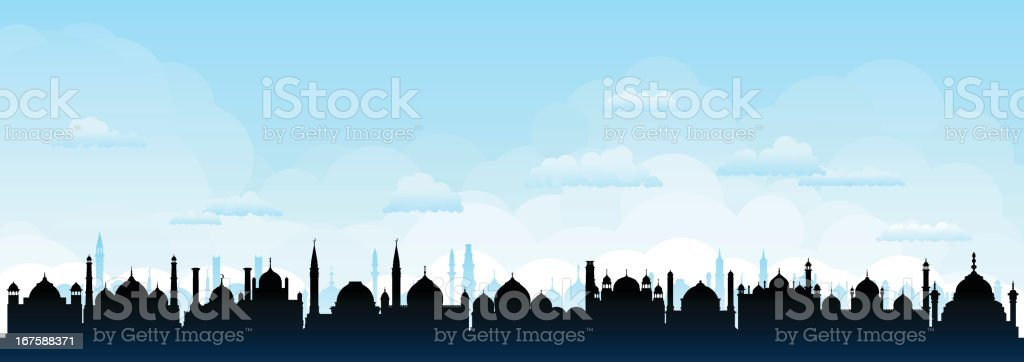 Mosque City (Buildings Are Detailed, Moveable and Complete) royalty-free stock vector art