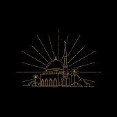 Line art style design concept of the mosque was isolated from a black background