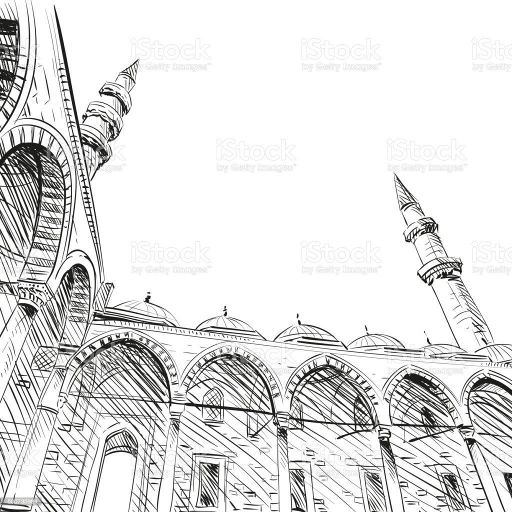 mosque hand drawn turkey istanbul vector illustration stock vector