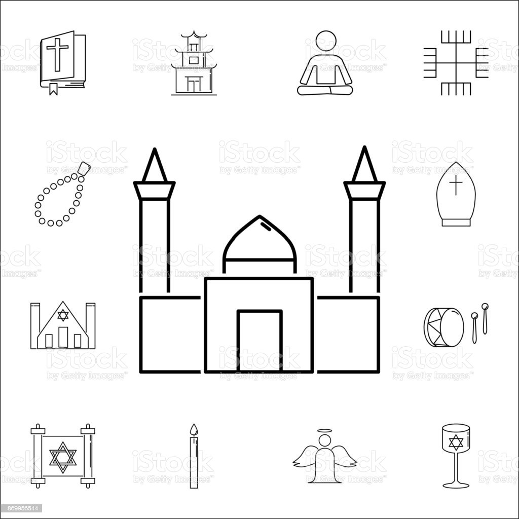 mosque icon. Set of religion icons. Web Icons Premium quality graphic design. Signs, outline symbols collection, simple icons for websites, web design, mobile app vector art illustration