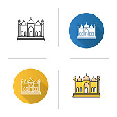 Mosque flat design, linear and color icons set. Islamic culture. Muslim worship place