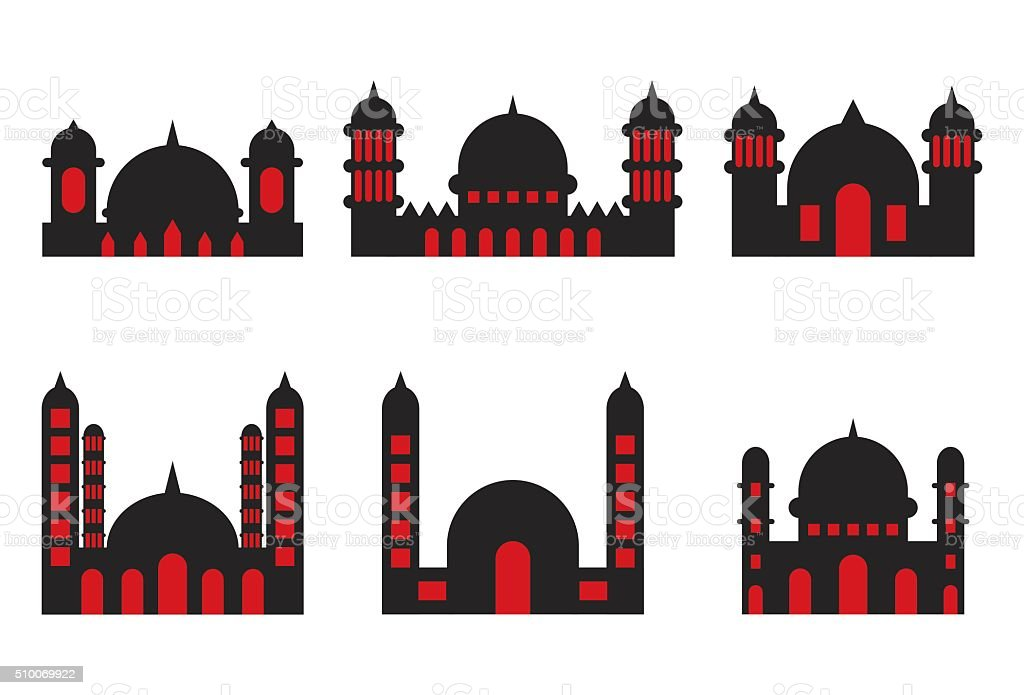Mosque Icons vector art illustration