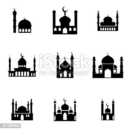 mosque  vector icons. Simple illustration set of 9 mosque elements, editable icons, can be used in logo, UI and web design