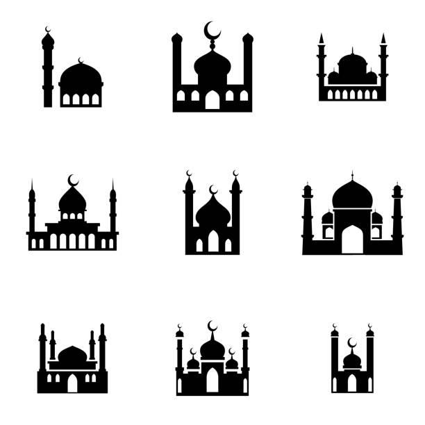 stockillustraties, clipart, cartoons en iconen met de pictogrammen van de moskee - minaret