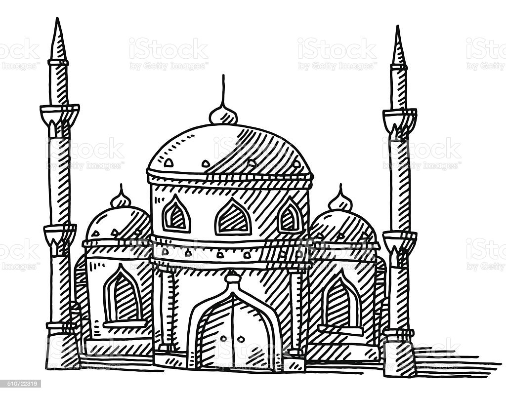 Mosque Islamic Building Drawing vector art illustration