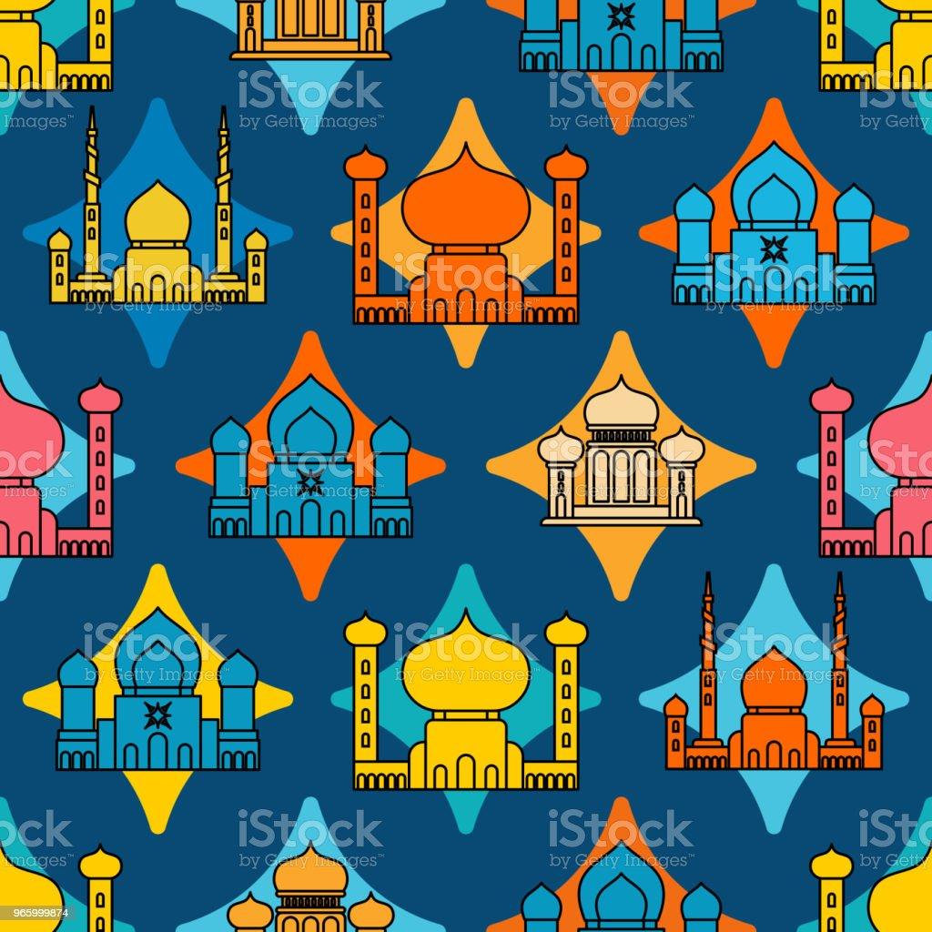 Moschee islamische Muster nahtlos.  Ramadan Kareem Greeting Card Hintergrund für muslimischen Feiertag Eid Mubarak. Vektor-illustration - Lizenzfrei Abstrakt Vektorgrafik