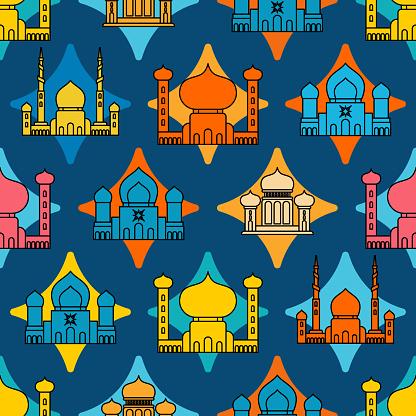 Moschee Islamische Muster Nahtlos Ramadan Kareem Greeting Card Hintergrund Für Muslimischen Feiertag Eid Mubarak Vektorillustration Stock Vektor Art und mehr Bilder von Abstrakt