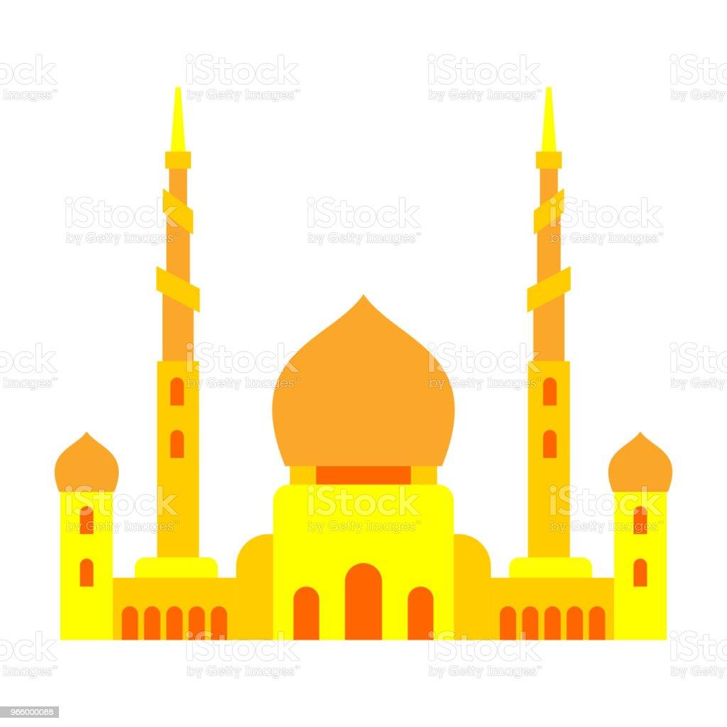 Moskee islamitische religieuze gebouw. Vectorillustratie voor moslim vakantie Eid Mubarak. Ramadan Kareem wenskaart - Royalty-free Abstract vectorkunst