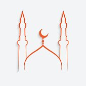 mosque Islamic template on white background , vector