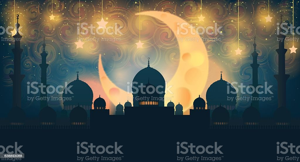 Mosque silhouette in night sky with crescent moon and star - 免版稅中東人圖庫向量圖形