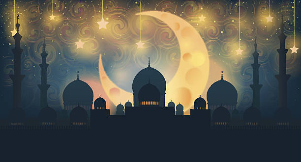 mosque silhouette in night sky with crescent moon and star - eid mubarak stock illustrations, clip art, cartoons, & icons