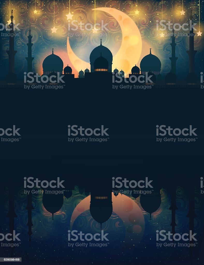 Mosque silhouette in night sky with crescent moon and star vector art illustration