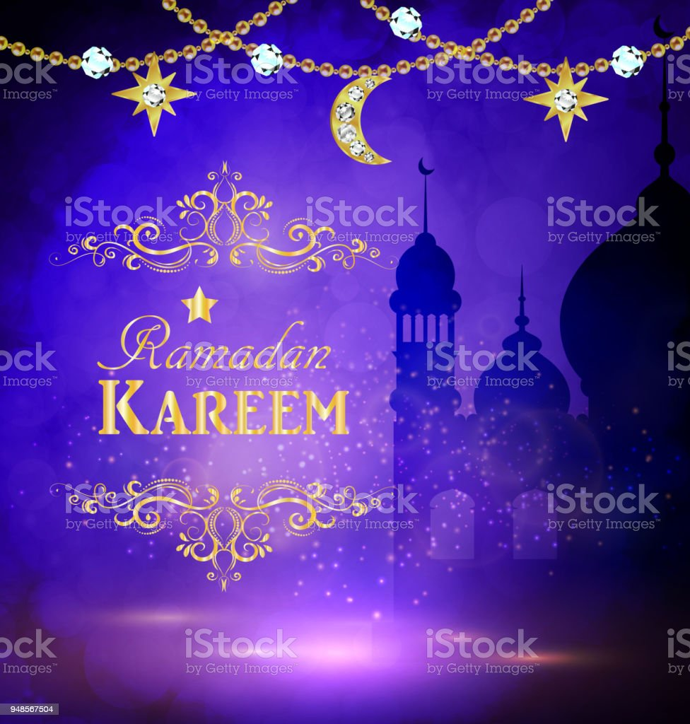 Mosque silhouette in sunset sky and abstract light for ramadan of Islam vector art illustration