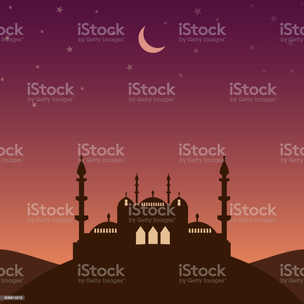 Mosque silhouette in the evening with stars and crescent vector art illustration