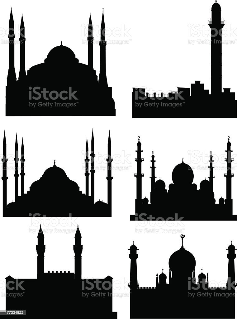 mosque silhouette vector art illustration