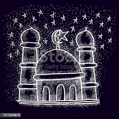 istock mosque, sketch and illustration of doodle 1312926678