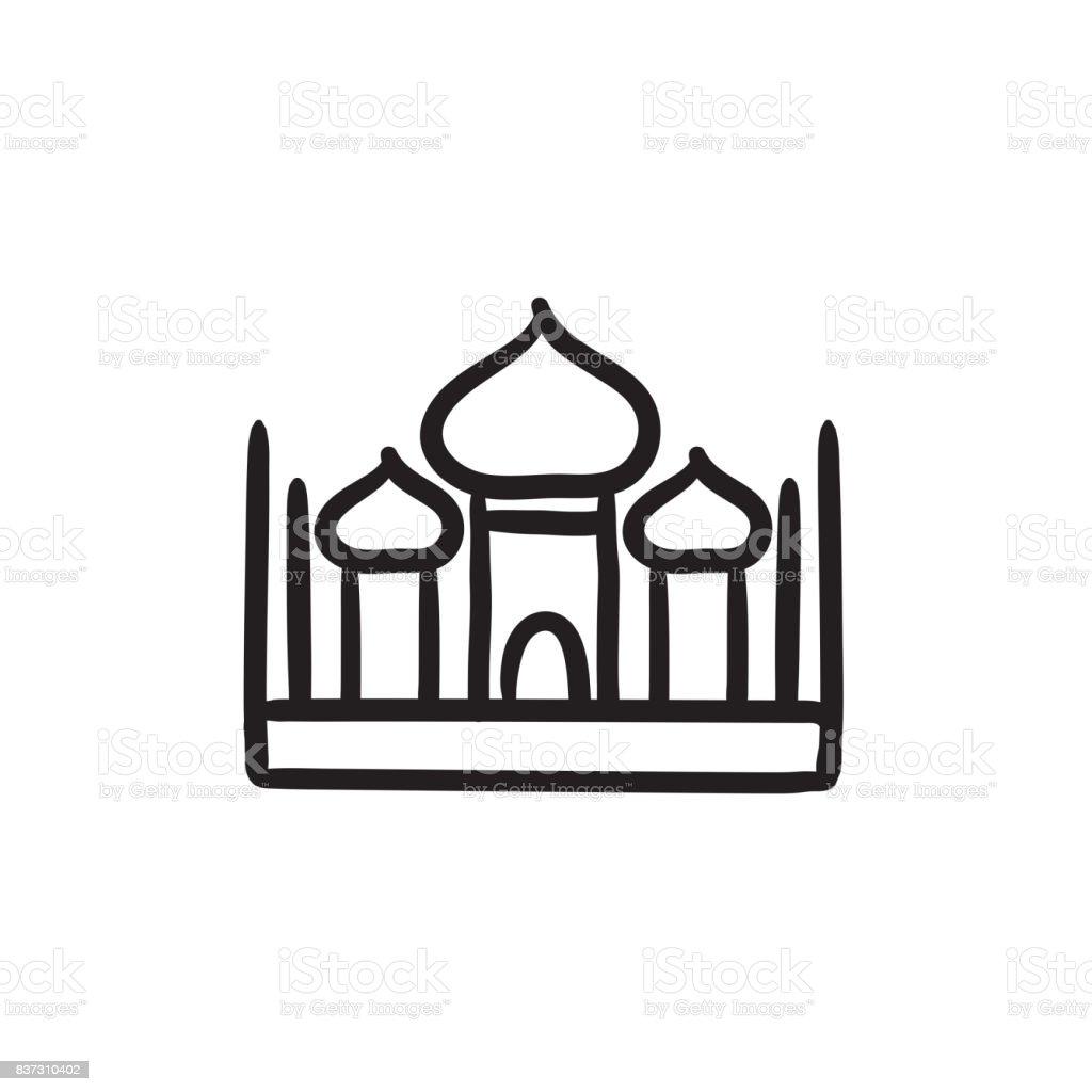 Mosque sketch icon vector art illustration