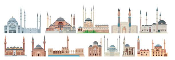 stockillustraties, clipart, cartoons en iconen met moskee - minaret