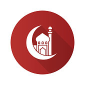 Mosque with ramadan moon flat design vector icon