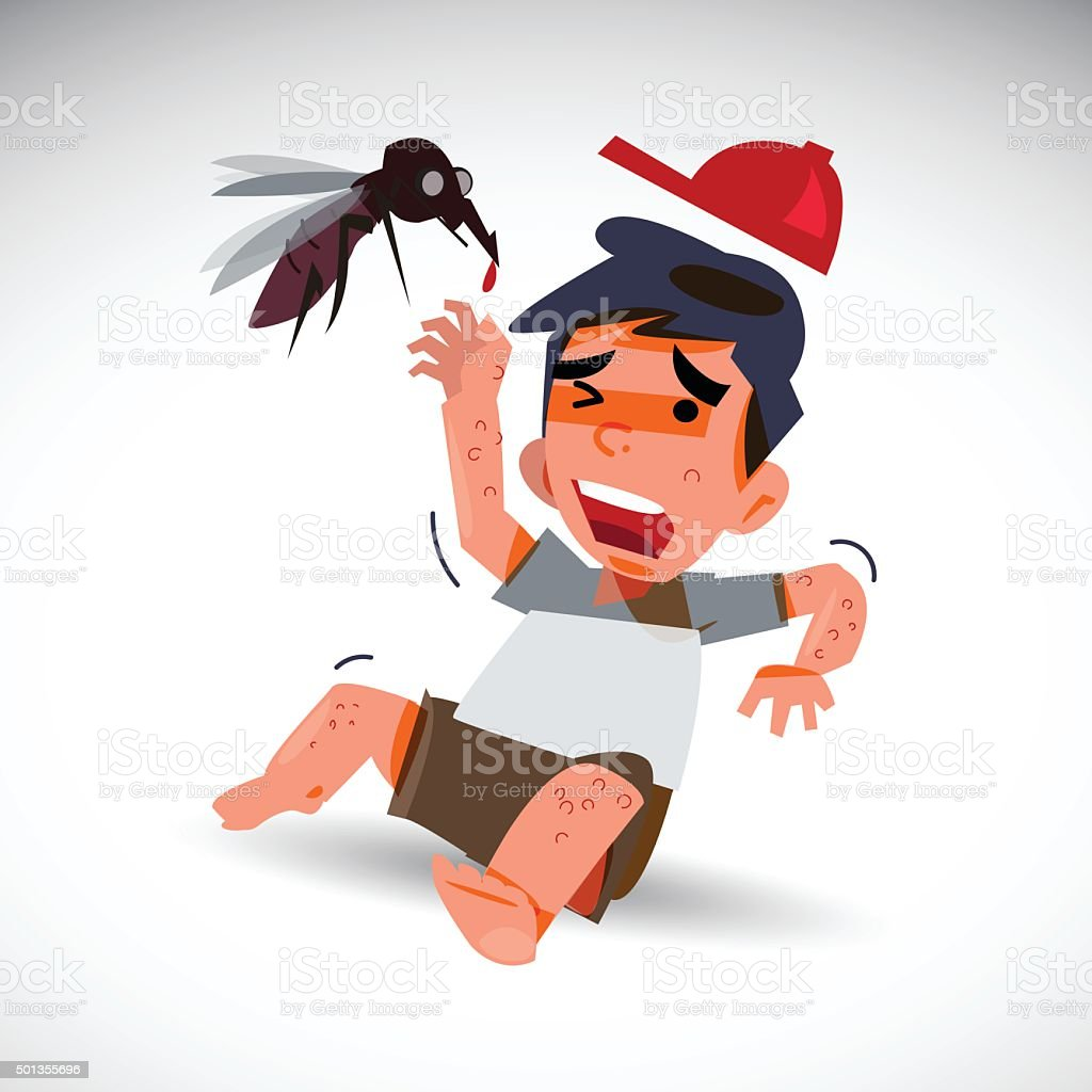 mosquito and afraid boy with dengue effect . fever concept vector art illustration