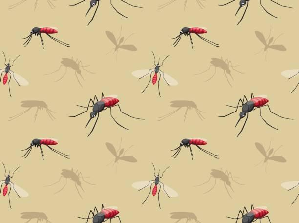 illustrazioni stock, clip art, cartoni animati e icone di tendenza di mosquito cartoon seamless wallpaper - zanzare