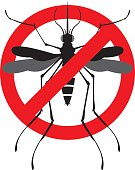 Vector Illustration of Danger Warning Signal of a bloodsucking Mosquito with a zika virus