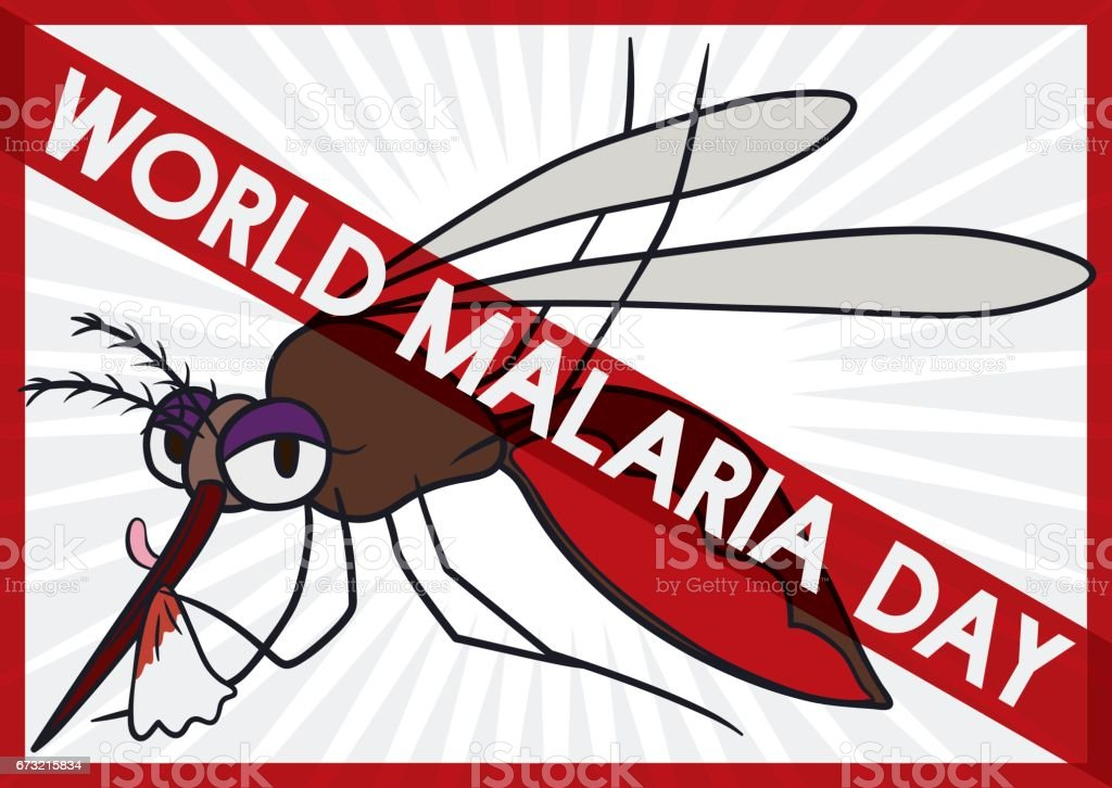 Mosquito Full of Blood with Forbidden Sign in Malaria Day vector art illustration