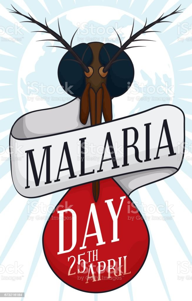 Mosquito Head, Blood Drop and Reminder Date for Malaria Day векторная иллюстрация