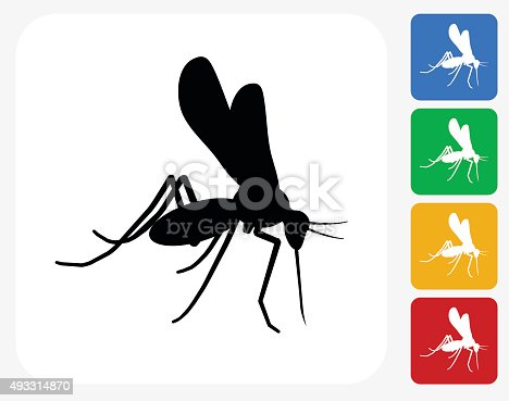 Mosquito Icon. This 100% royalty free vector illustration features the main icon pictured in black inside a white square. The alternative color options in blue, green, yellow and red are on the right of the icon and are arranged in a vertical column.