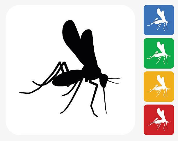 모기 아이콘크기 평편 그래픽 디자인 - 곤충 실루엣 stock illustrations