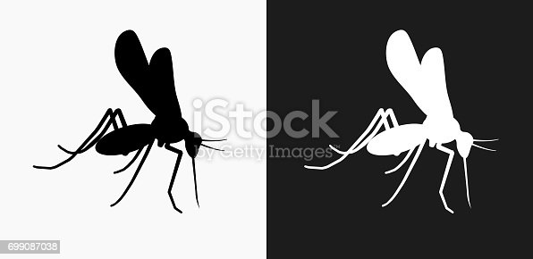 Mosquito Icon on Black and White Vector Backgrounds. This vector illustration includes two variations of the icon one in black on a light background on the left and another version in white on a dark background positioned on the right. The vector icon is simple yet elegant and can be used in a variety of ways including website or mobile application icon. This royalty free image is 100% vector based and all design elements can be scaled to any size.