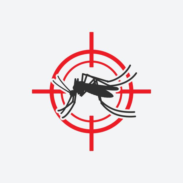 illustrazioni stock, clip art, cartoni animati e icone di tendenza di mosquito icon red target. insect pest control sign - zanzare