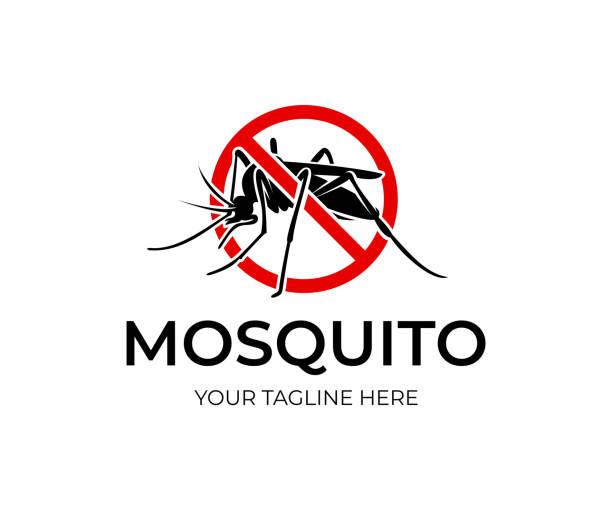 illustrazioni stock, clip art, cartoni animati e icone di tendenza di mosquito in red circle with ban, icon design. insect bloodsucking, nature and wildlife, vector design - zanzare