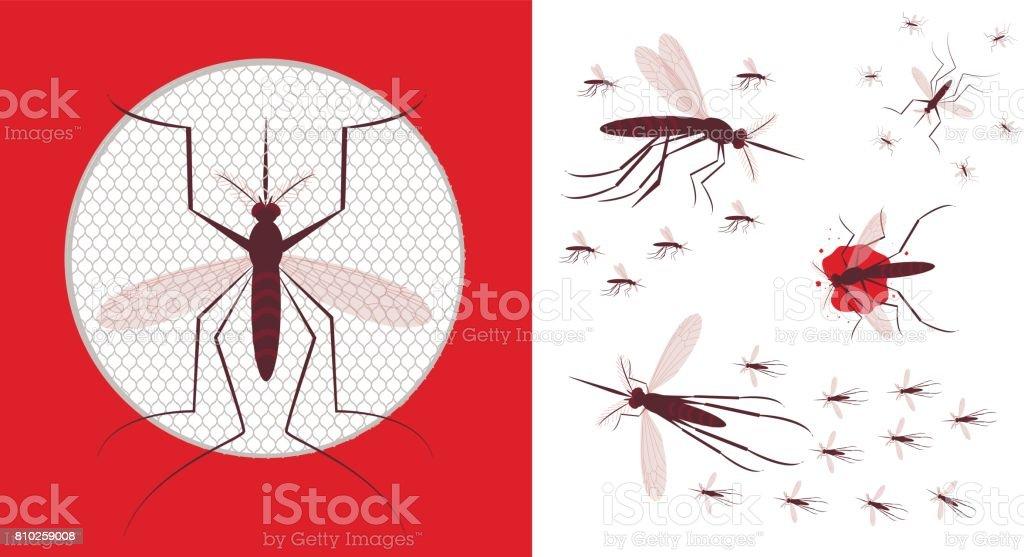 Icono De La Red De Mosquito Rebaño De Mosquito Illustracion Libre de ...