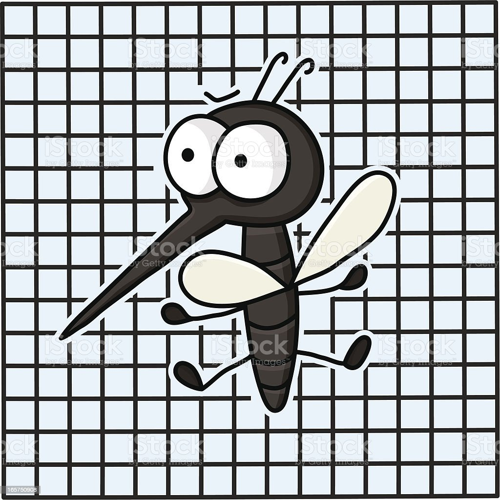 mosquito on a fly net vector art illustration