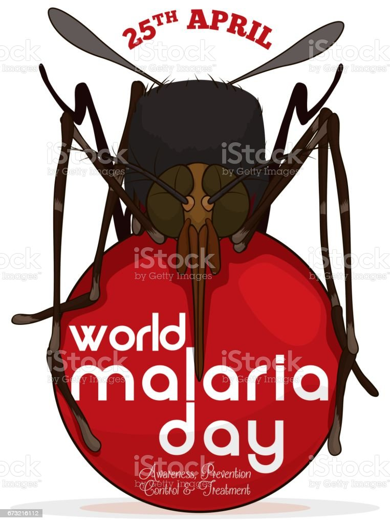 Mosquito over a Red Button Commemorating World Malaria Day векторная иллюстрация