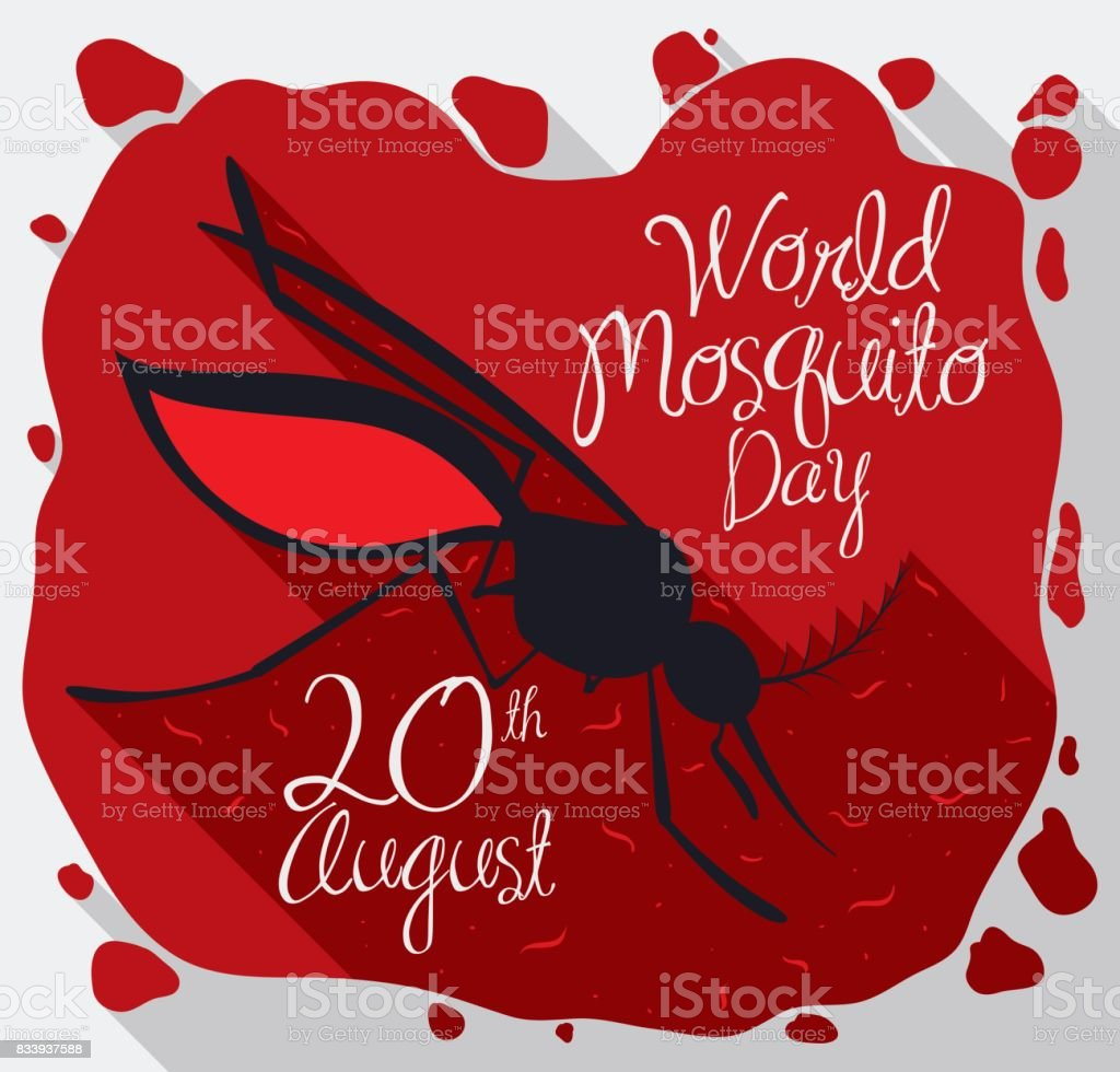 Mosquito over Blood and Parasites to Commemorate World Mosquito Day vector art illustration