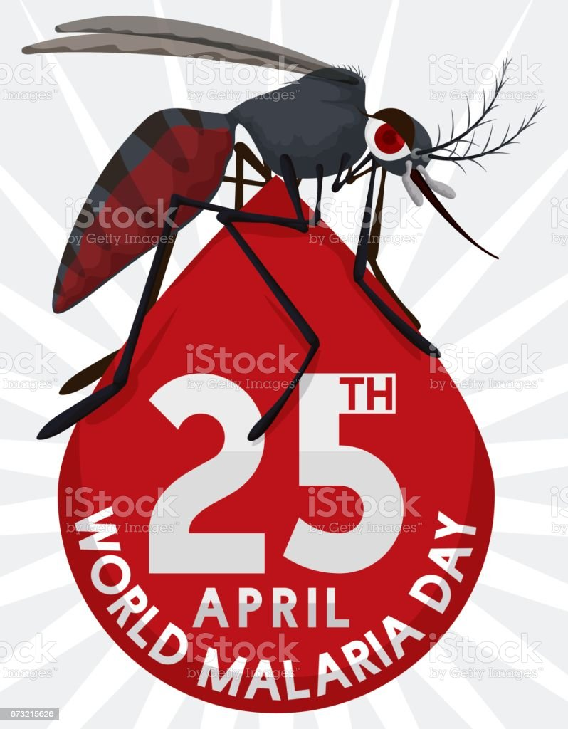 Mosquito over Blood Drop Design for World Malaria Day векторная иллюстрация