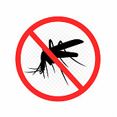Mosquito repellent sign label on white transparent background