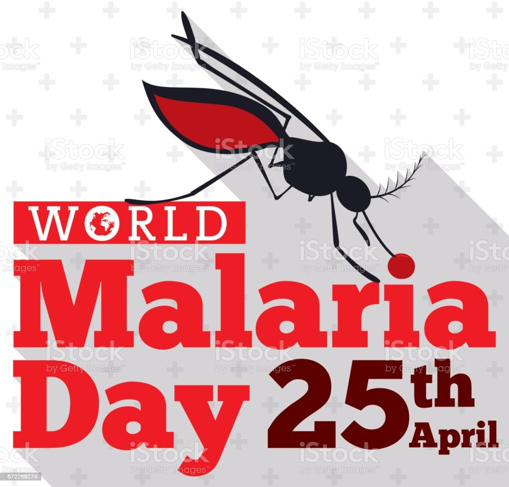 Mosquito Silhouette Biting the World Malaria Day Sign векторная иллюстрация