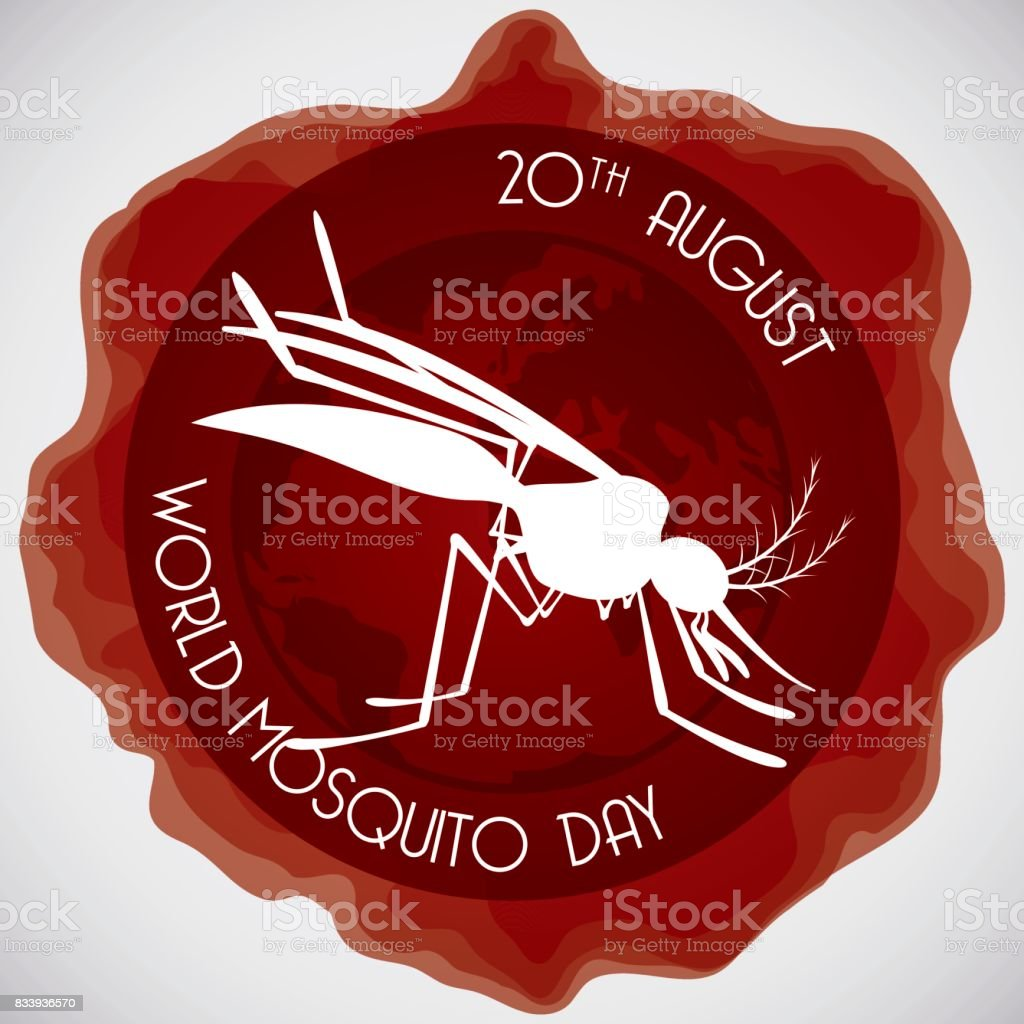 Mosquito Silhouette over Globe for World Mosquito Day vector art illustration
