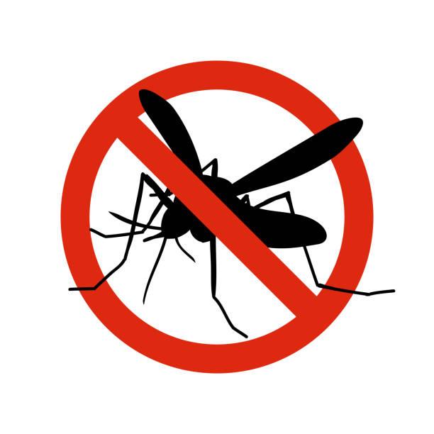 illustrazioni stock, clip art, cartoni animati e icone di tendenza di mosquito warning prohibited sign. anti mosquitoes, insect control vector symbol - zanzare