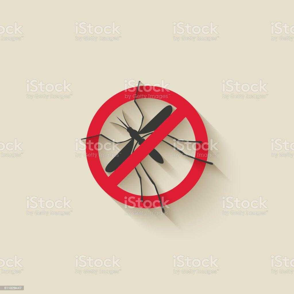 mosquito warning sign vector art illustration