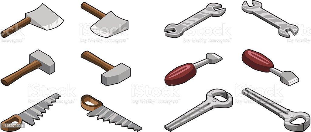 Most important hand tools (isometric vector) vector art illustration