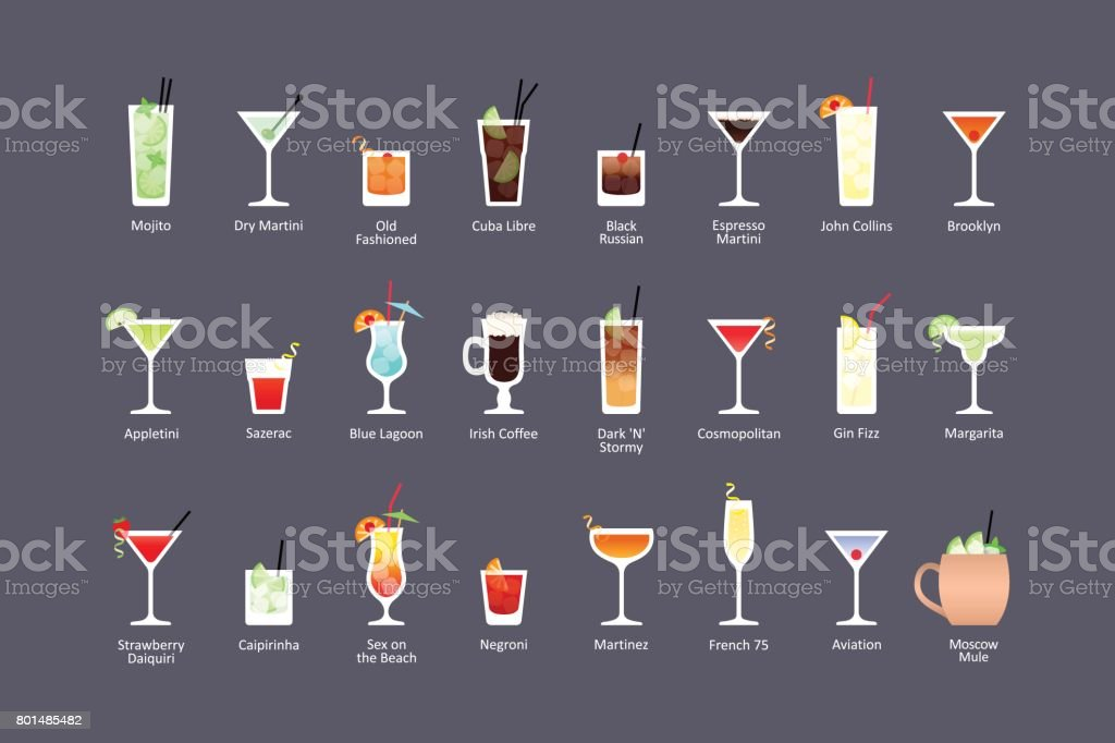Most popular alcoholic cocktails part 1, icons set in flat style on dark background vector art illustration