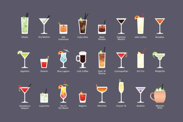 most popular alcoholic cocktails part 1, icons set in flat style on dark background - cocktails stock illustrations, clip art, cartoons, & icons