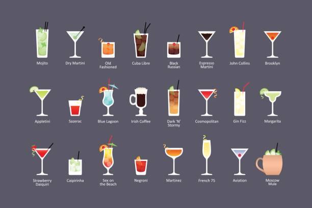 Más populares cócteles alcohólicos parte 1, los iconos fija en estilo plano sobre fondo oscuro - ilustración de arte vectorial