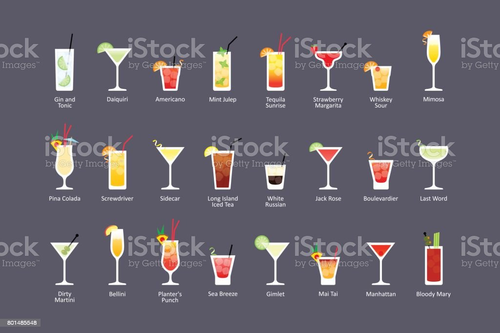 Most popular alcoholic cocktails part 2, icons set in flat style on dark background vector art illustration