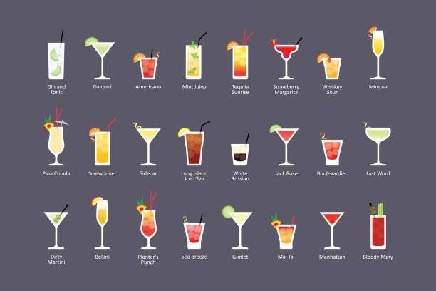 Most popular alcoholic cocktails part 2, icons set in flat style on dark background Most popular alcoholic cocktails part 2, icons set in flat style on dark background. Vector screwdriver drink stock illustrations